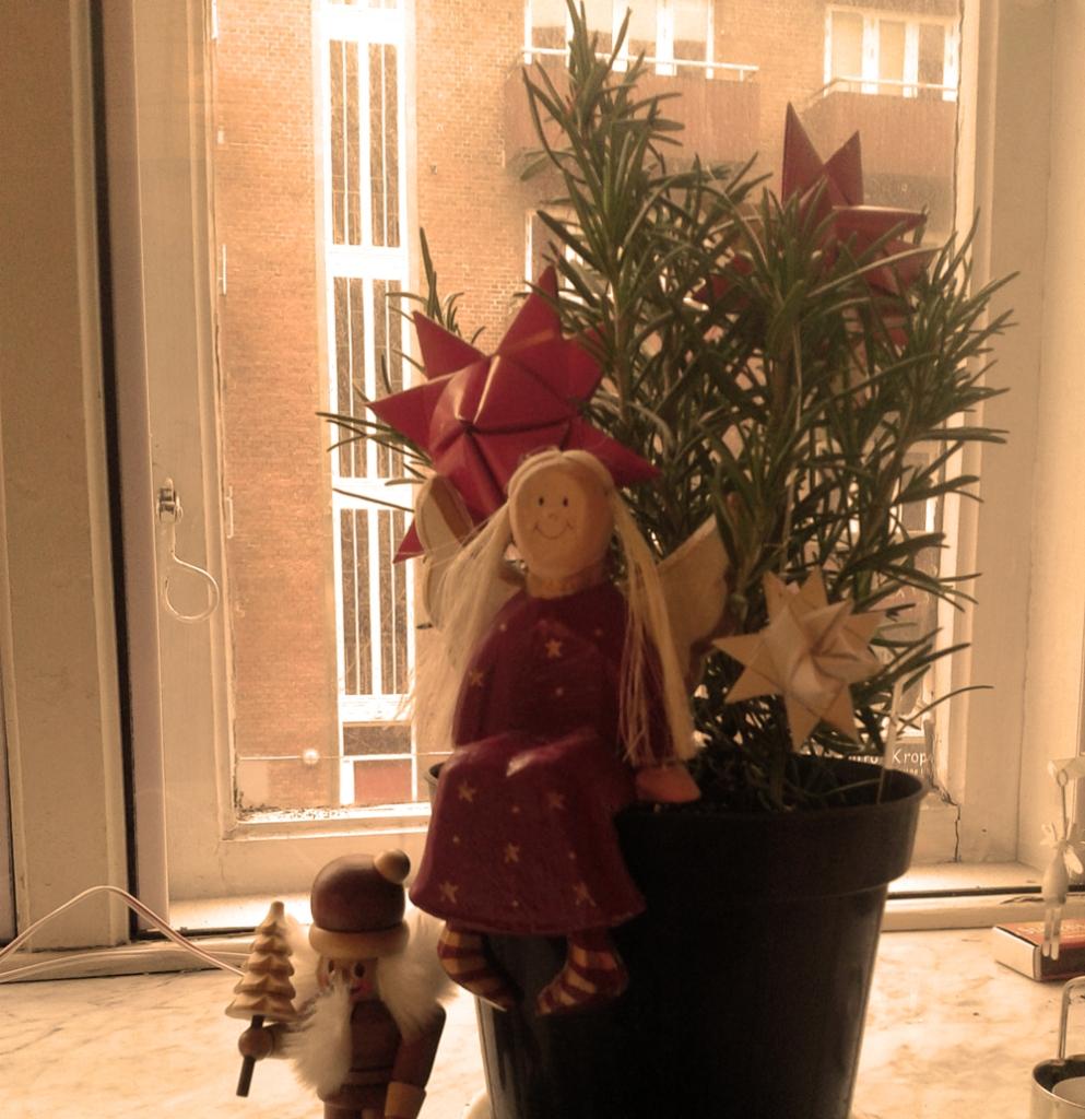 Der Bio-Rosmarin aus dem Küchenfenster ist ins Wohnzimmer umgezogen und macht als duftender Weihnachtsbaum was her! (Idee: Christina Leitow @kulturplaneten)